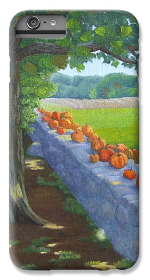 Pumpkins IPhone 6 Plus Case featuring the painting Pumpkin Muster by Sharon E Allen