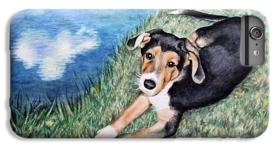 Dog IPhone 6 Plus Case featuring the painting Puppy Max by Nicole Zeug