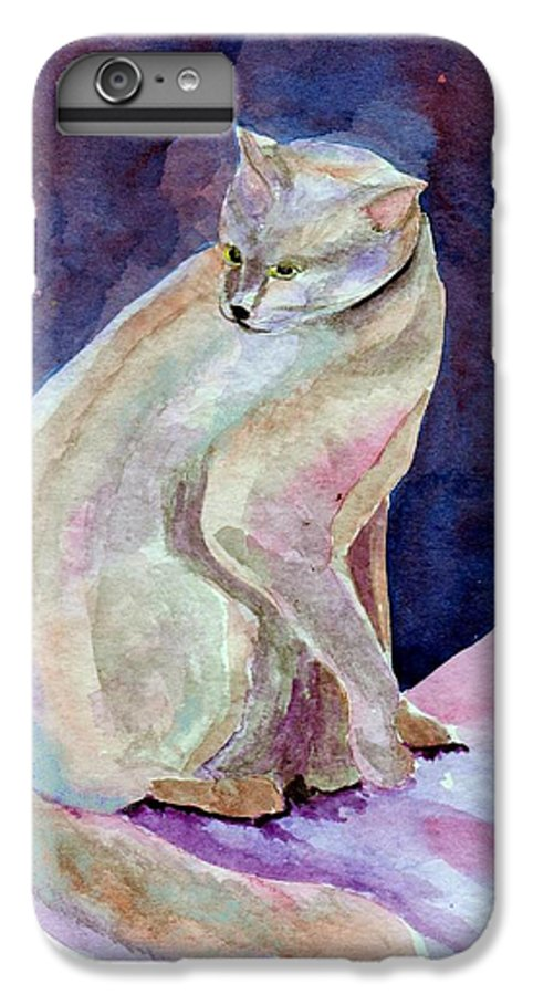 Cat IPhone 6 Plus Case featuring the painting Purple Cat by Susan Kubes