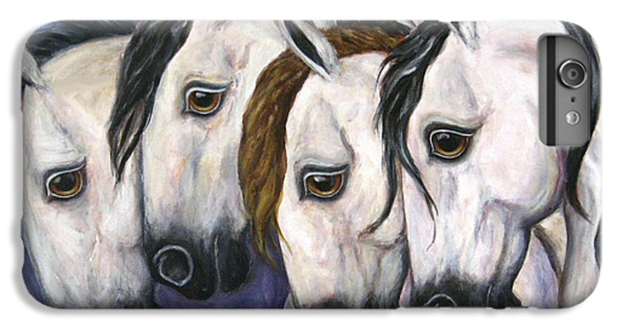 Horse Painting IPhone 6 Plus Case featuring the painting Purple Haze by Frances Gillotti