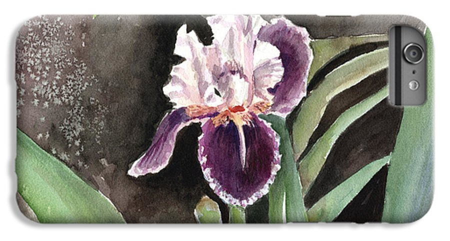 Flower IPhone 6 Plus Case featuring the painting Purple Iris by Arline Wagner
