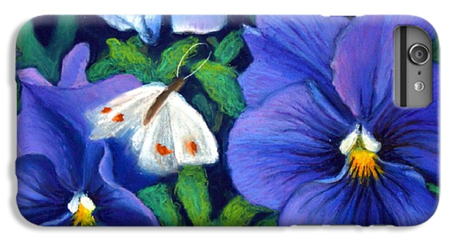 Pansy IPhone 6 Plus Case featuring the painting Purple Pansies And White Moth by Minaz Jantz