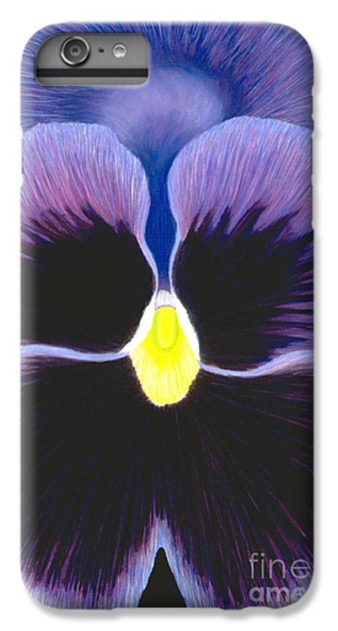 Pansy IPhone 6 Plus Case featuring the painting Purple Pansy by Mary Erbert