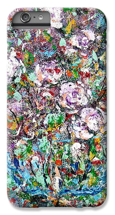 Abstract IPhone 6 Plus Case featuring the painting Purple Passions by Natalie Holland