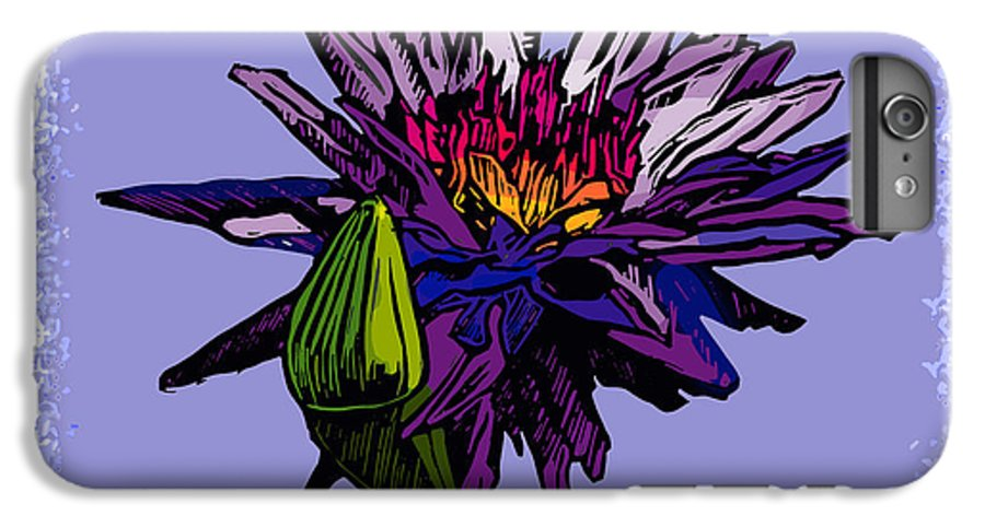 Water Lily IPhone 6 Plus Case featuring the drawing Purple Water Lily by John Lautermilch