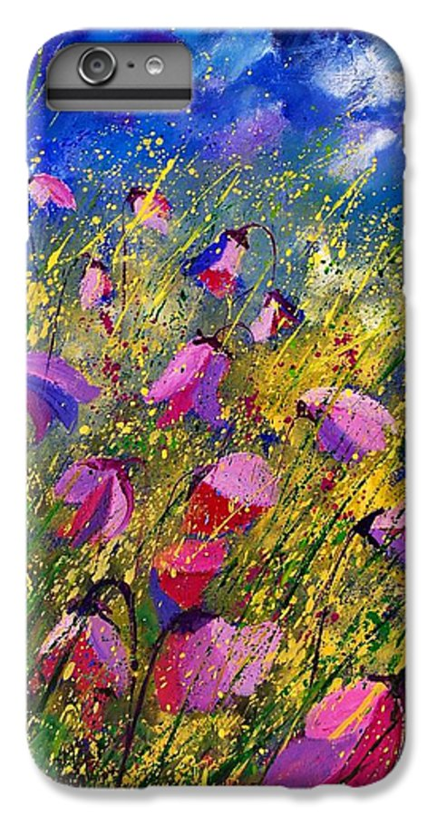Poppies IPhone 6 Plus Case featuring the painting Purple Wild Flowers by Pol Ledent