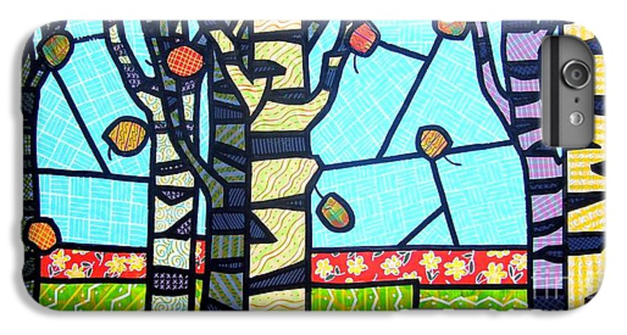 Birch Trees IPhone 6 Plus Case featuring the painting Quilted Birch Garden by Jim Harris