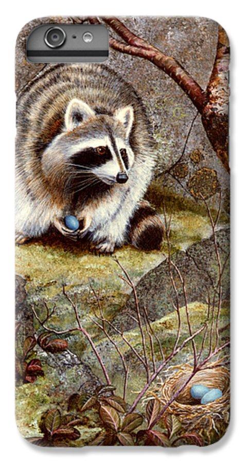 Raccoon Found Treasure IPhone 6 Plus Case featuring the painting Raccoon Found Treasure by Frank Wilson