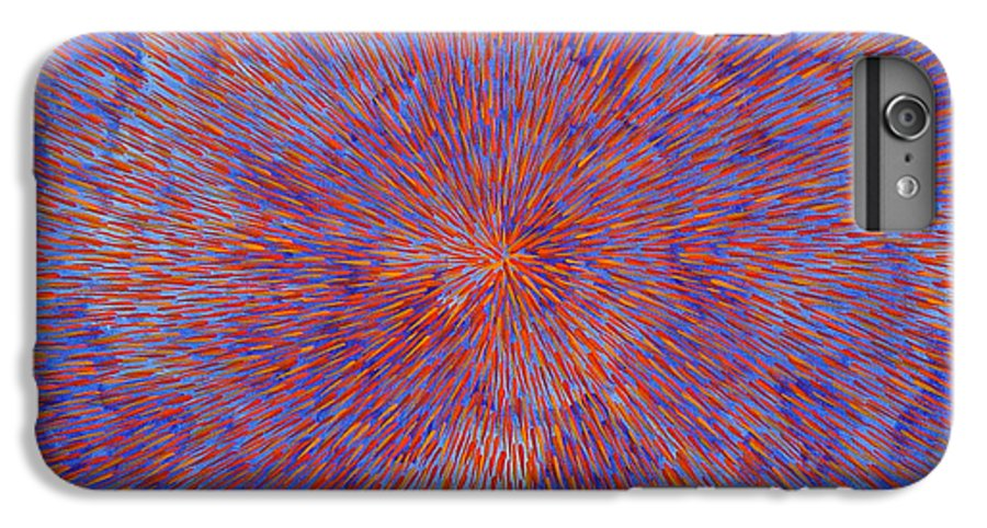 Abstract IPhone 6 Plus Case featuring the painting Radiation With Blue And Red by Dean Triolo