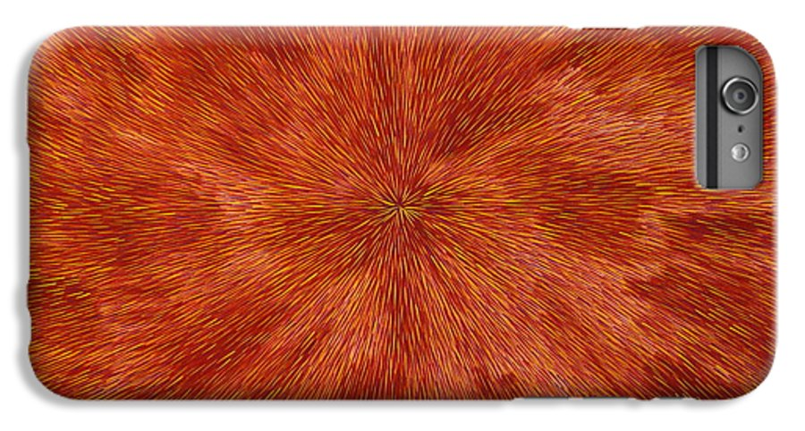 Abstract IPhone 6 Plus Case featuring the painting Radiation With Brown Yellow And Voilet by Dean Triolo