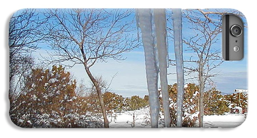 Icicle IPhone 6 Plus Case featuring the photograph Rain Barrel Icicle by Diana Dearen