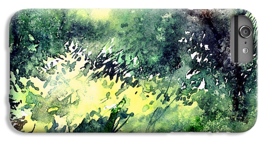 Landscape Watercolor Nature Greenery Rain IPhone 6 Plus Case featuring the painting Rain Gloss by Anil Nene