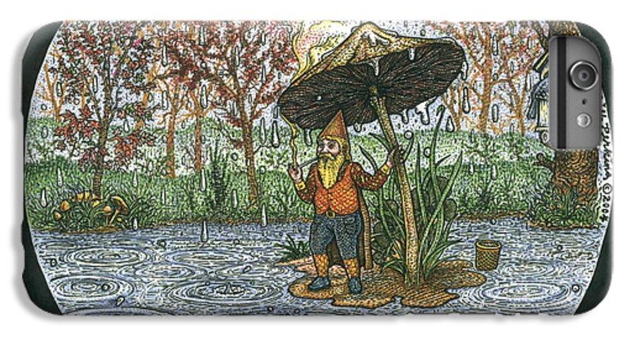 Rain IPhone 6 Plus Case featuring the drawing Rain Gnome Rain Circle by Bill Perkins