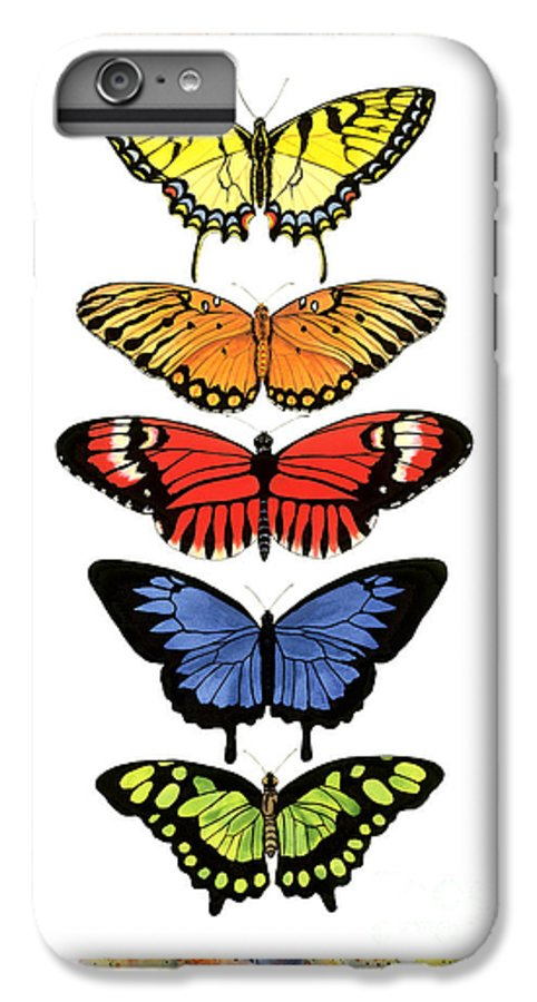 Butterflies IPhone 6 Plus Case featuring the painting Rainbow Butterflies by Lucy Arnold