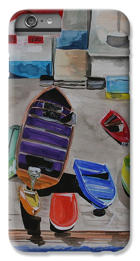 Boats IPhone 6 Plus Case featuring the painting Rainbow On The Dock by Jean Blackmer