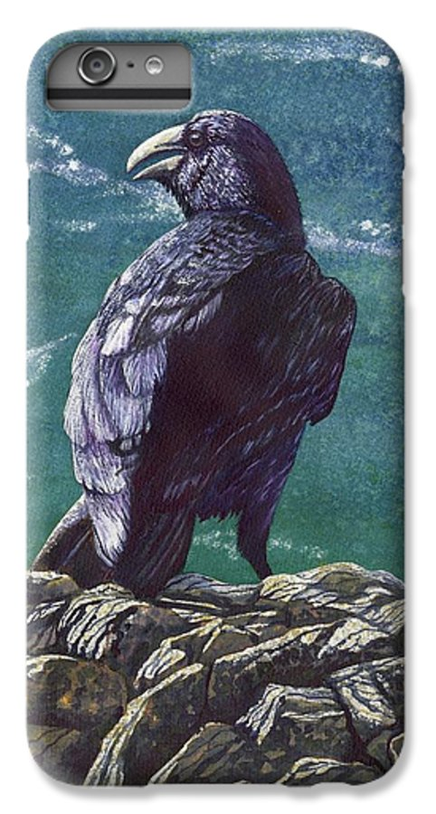 Bird IPhone 6 Plus Case featuring the painting Raven by Catherine G McElroy
