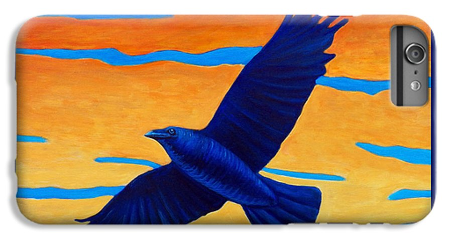 Raven IPhone 6 Plus Case featuring the painting Raven Rising by Brian Commerford