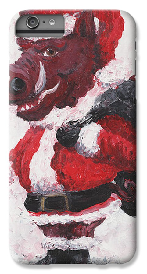 Santa IPhone 6 Plus Case featuring the painting Razorback Santa by Nadine Rippelmeyer