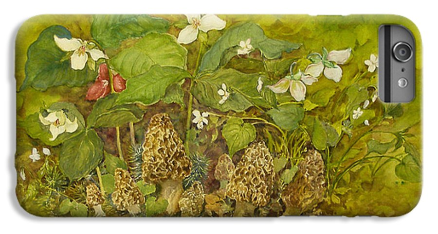 Mushrooms;trillium;spring;violets;woods;woodland;morels;watercolor Painting; IPhone 6 Plus Case featuring the painting Ready For Pickin' by Lois Mountz