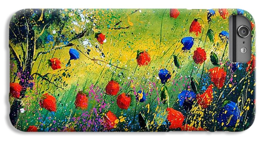 Flowers IPhone 6 Plus Case featuring the painting Red And Blue Poppies by Pol Ledent