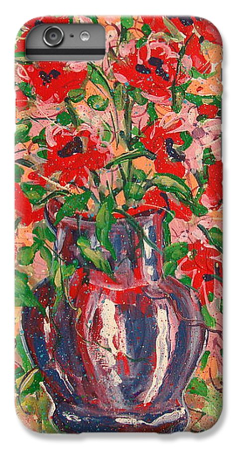 Flowers IPhone 6 Plus Case featuring the painting Red And Pink Poppies. by Leonard Holland
