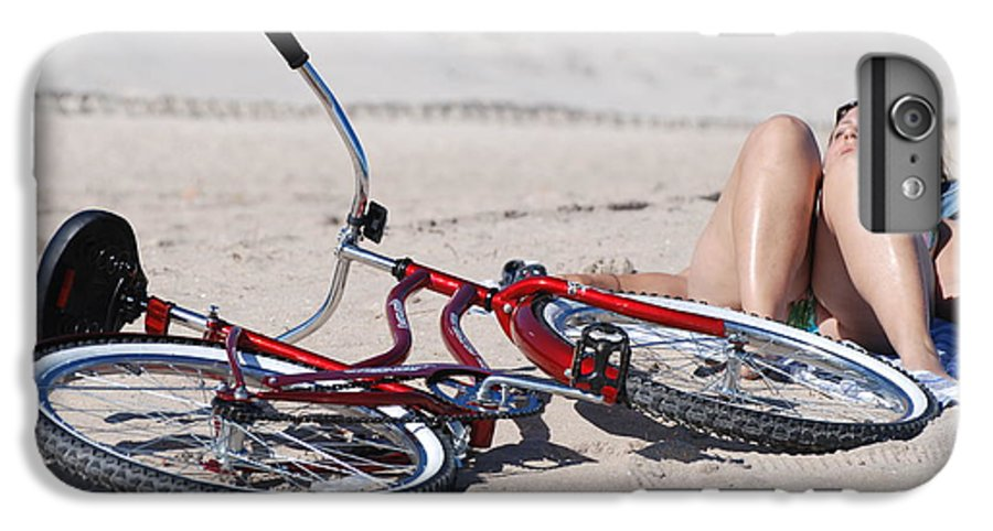 Red IPhone 6 Plus Case featuring the photograph Red Bike On The Beach by Rob Hans