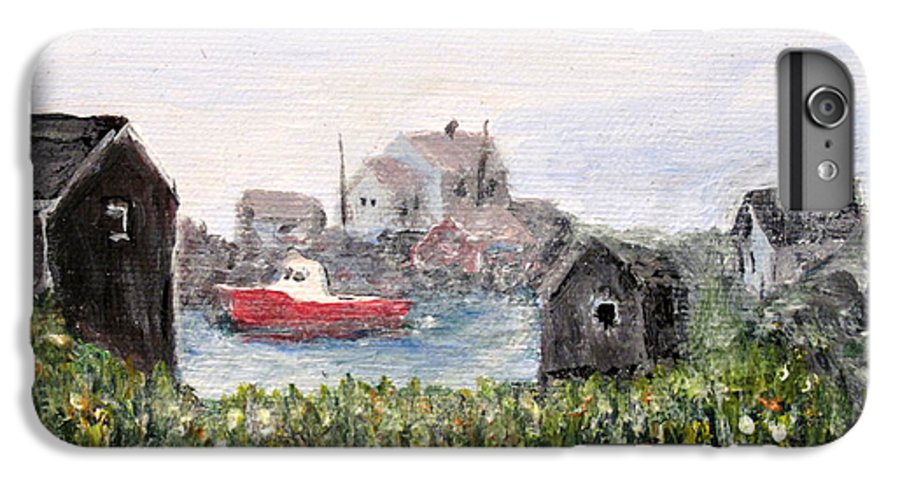 Red Boat IPhone 6 Plus Case featuring the painting Red Boat In Peggys Cove Nova Scotia by Ian MacDonald