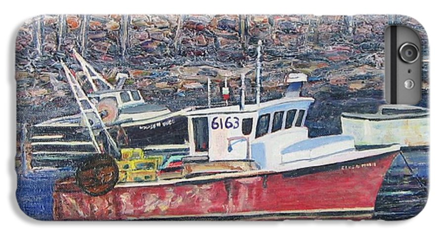 Boat IPhone 6 Plus Case featuring the painting Red Boat Reflections by Richard Nowak