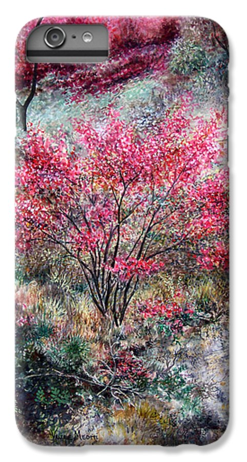 Landscape IPhone 6 Plus Case featuring the painting Red Bush by Valerie Meotti