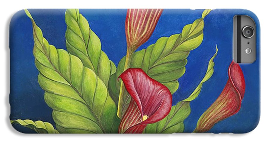 Red Calla Lillies On Blue Background IPhone 6 Plus Case featuring the painting Red Calla Lillies by Carol Sabo