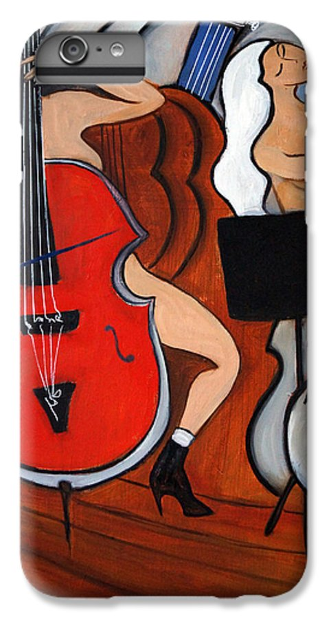 Cubic Abstract IPhone 6 Plus Case featuring the painting Red Cello 2 by Valerie Vescovi