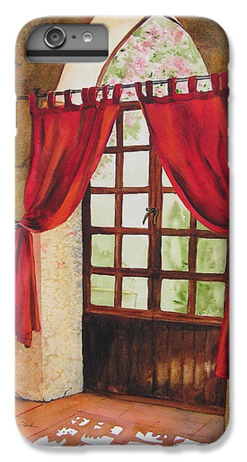 Curtain IPhone 6 Plus Case featuring the painting Red Curtain by Karen Stark