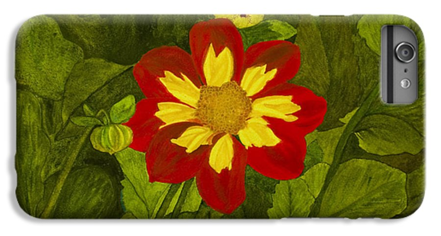 Red IPhone 6 Plus Case featuring the painting Red Dahlia by Louise Magno