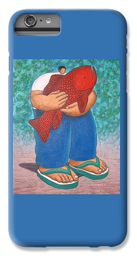 Acrylic IPhone 6 Plus Case featuring the painting Red Fish And Blue Trousers. by Vico Vico