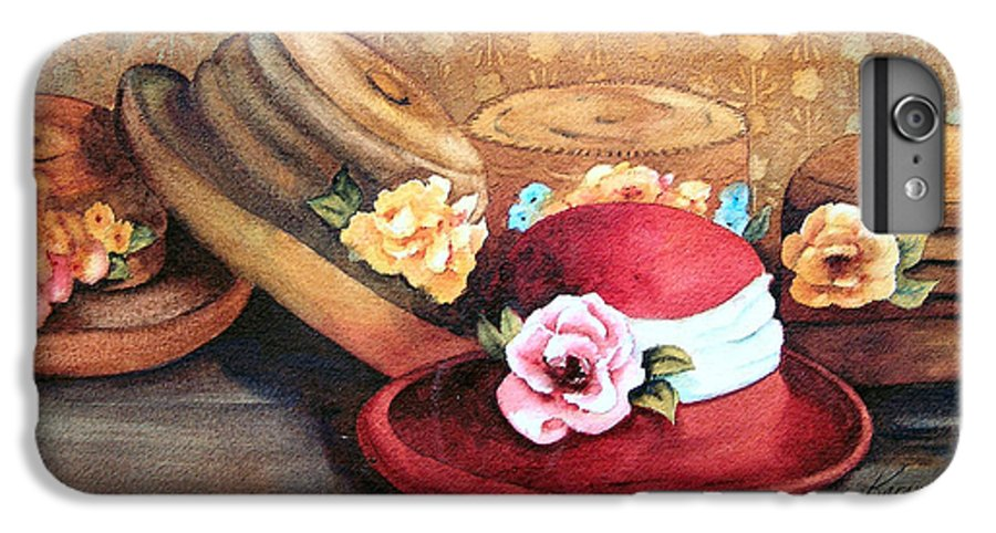 Hat IPhone 6 Plus Case featuring the painting Red Hat by Karen Stark