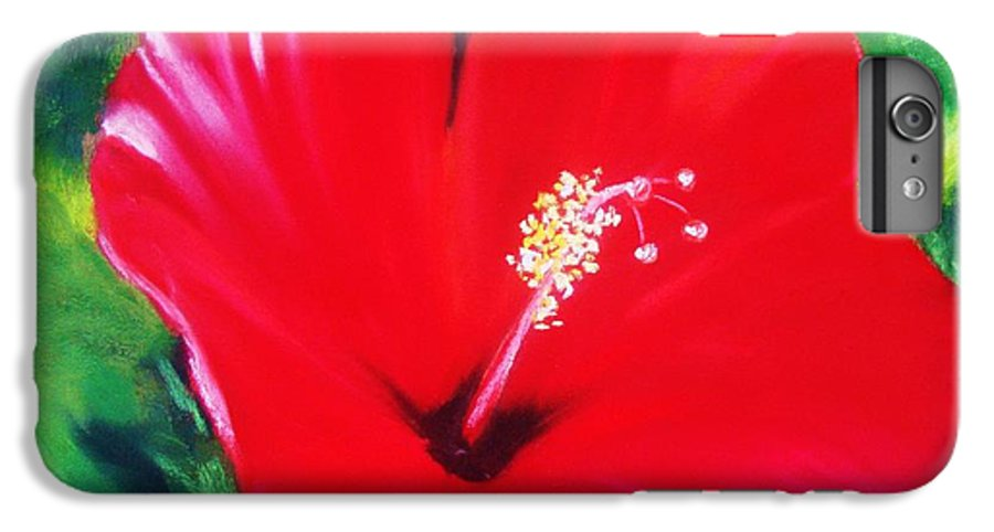 Bright Flower IPhone 6 Plus Case featuring the painting Red Hibiscus by Melinda Etzold
