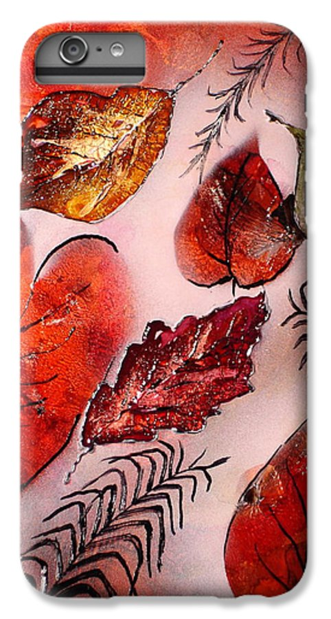Leaf IPhone 6 Plus Case featuring the painting Red Leaves by Susan Kubes