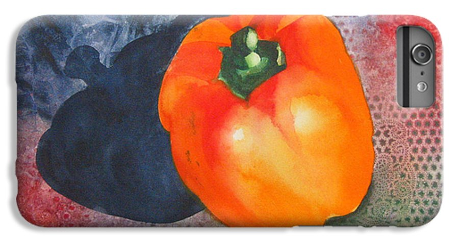 Pepper IPhone 6 Plus Case featuring the painting Red Pepper Solo by Jean Blackmer