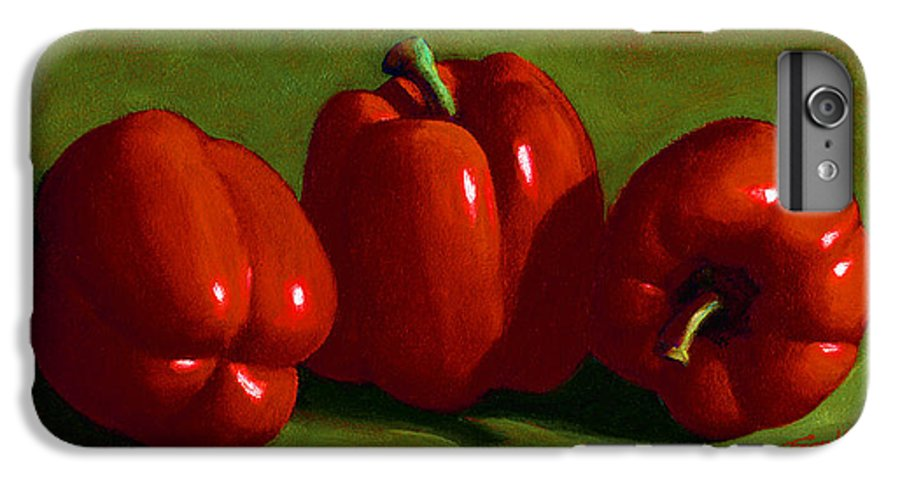 Red Peppers IPhone 6 Plus Case featuring the painting Red Peppers by Frank Wilson