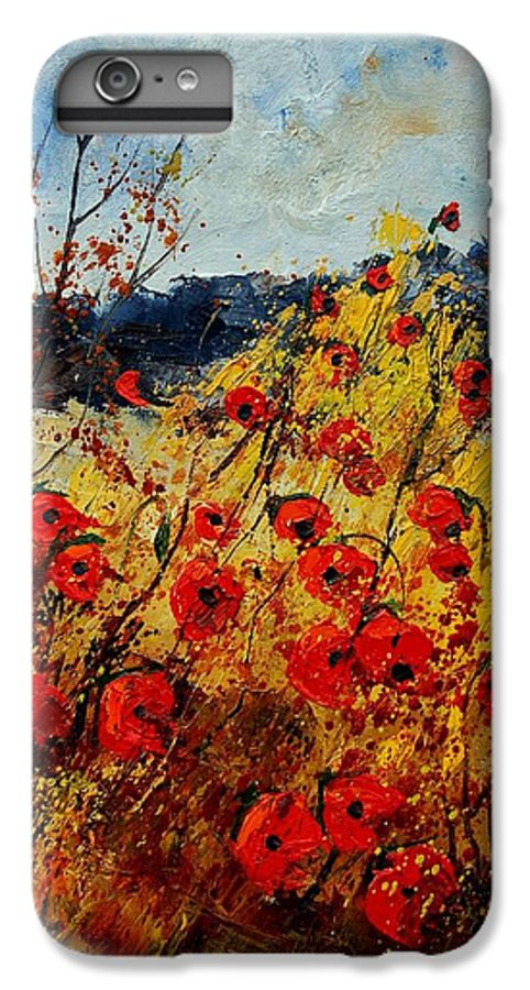 Poppies IPhone 6 Plus Case featuring the painting Red Poppies In Provence by Pol Ledent