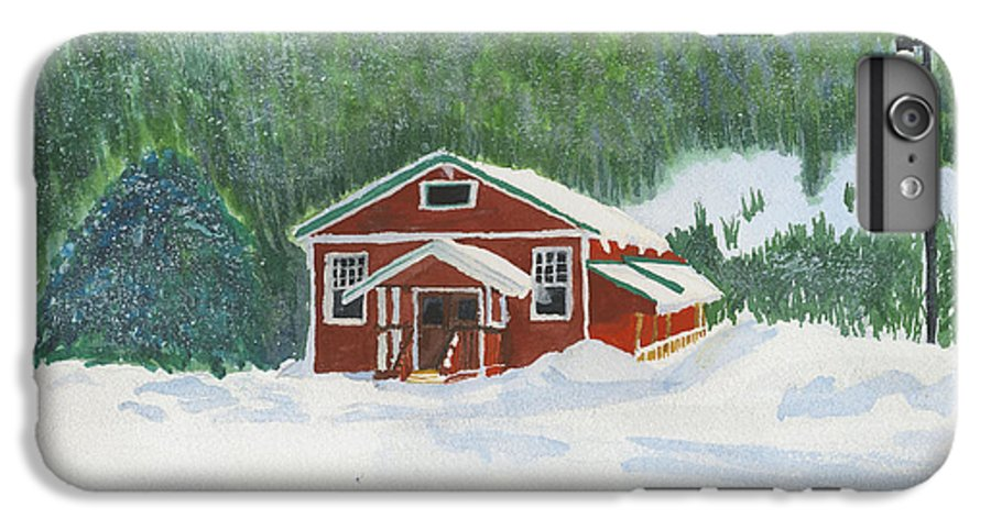 Schoolhouse IPhone 6 Plus Case featuring the painting Red School House by Louise Magno
