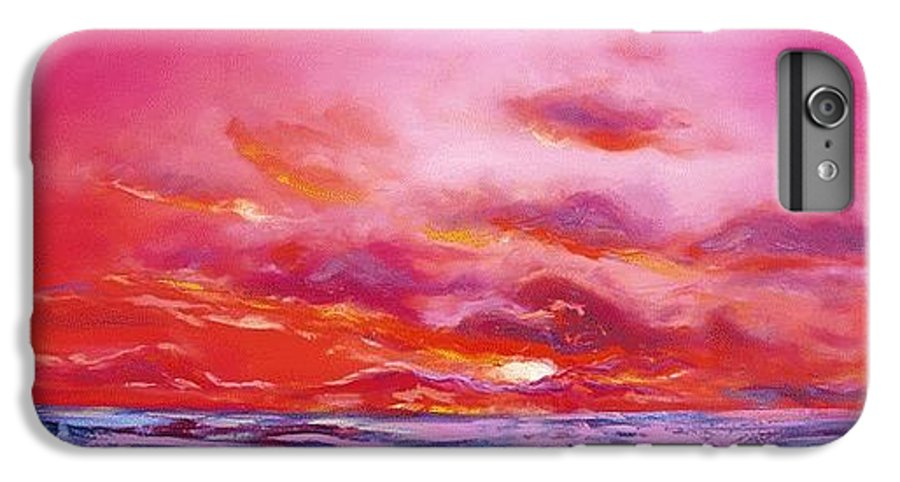 Red IPhone 6 Plus Case featuring the painting Red Sunset by Gina De Gorna