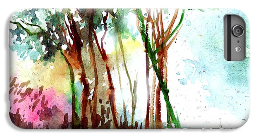 Landscape IPhone 6 Plus Case featuring the painting Red Trees by Anil Nene