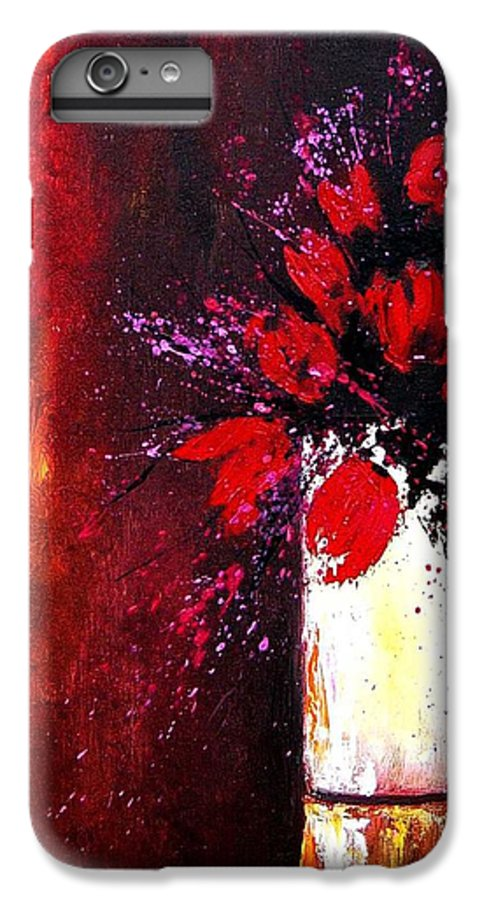 Flowers IPhone 6 Plus Case featuring the painting Red Tulips by Pol Ledent