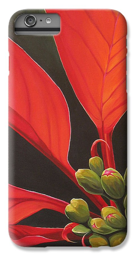 Poinsettia Closeup IPhone 6 Plus Case featuring the painting Red Velvet by Hunter Jay