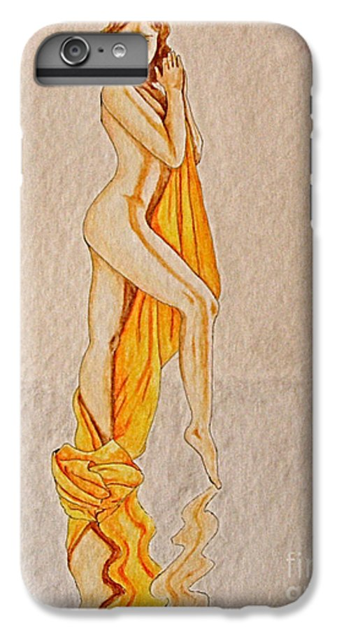Nude IPhone 6 Plus Case featuring the painting Reflection by Herschel Fall