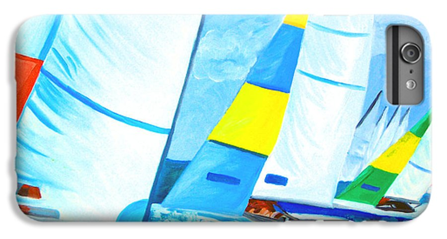 Sailing IPhone 6 Plus Case featuring the painting Regatta by Michael Lee
