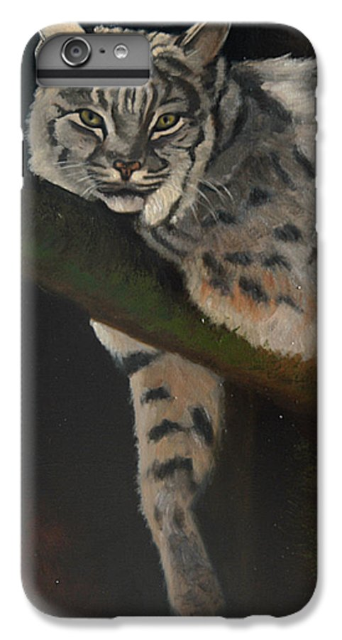 Bobcat IPhone 6 Plus Case featuring the painting Resting Up High by Greg Neal