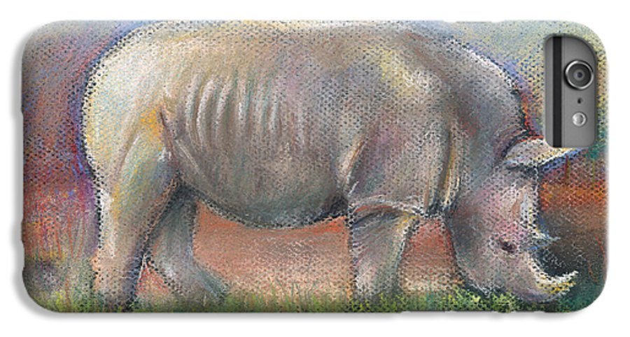 Rhino IPhone 6 Plus Case featuring the pastel Rhino by Arline Wagner