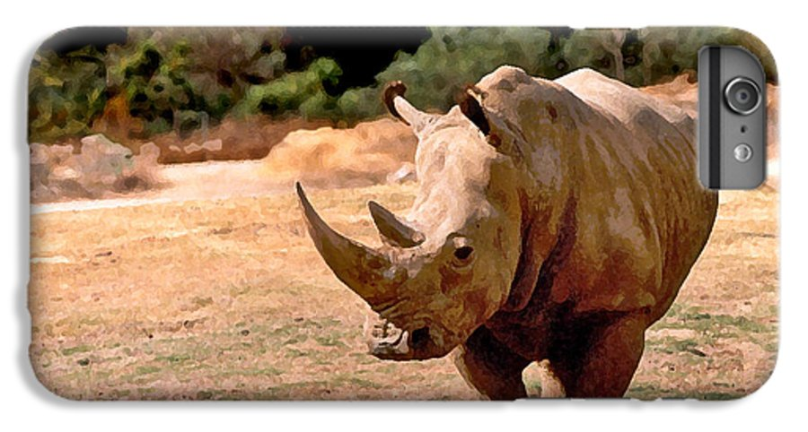Animal IPhone 6 Plus Case featuring the painting Rhino by Steve Karol
